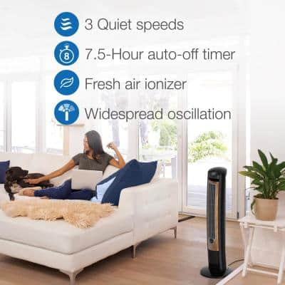 Wind Curve 42 in. 3 Speed Black Oscillating Tower Fan with Fresh Air Ionizer, Auto Timer and Remote Control