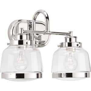 Judson Collection 2-Light Polished Nickel Clear Glass Farmhouse Bath Vanity Light