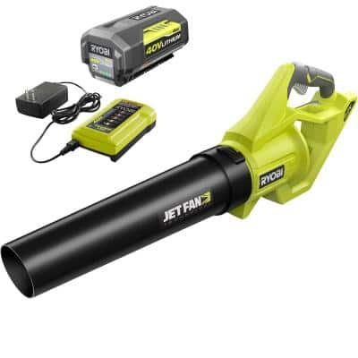 40V 110 MPH 500 CFM Cordless Battery Variable-Speed Jet Fan Leaf Blower with 4.0 Ah Battery and Charger
