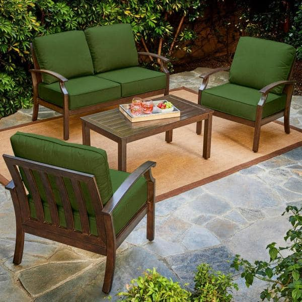 Royal Garden Bridgeport 4 Piece Metal, Green Patio Furniture