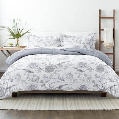 Premium Down Alternative Light Blue Molly Botanicals Reversible Microfiber King Comforter Set