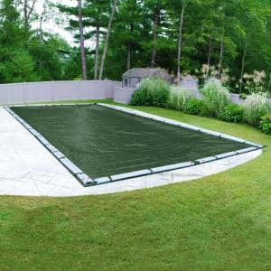 Supreme 30 ft. x 60 ft. Rectangular Green Solid In-Ground Winter Pool Cover