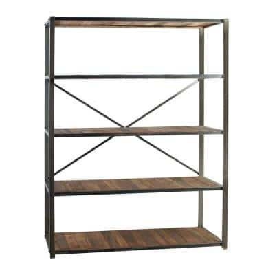 73 in. Natural/Bronze Metal 3-shelf Accent Bookcase with Open Back