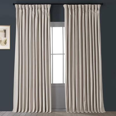 Ivory Velvet Rod Pocket Blackout Curtain - 100 in. W x 96 in. L