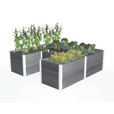 Urbana 6 in. x 6 in. Slate Gray Composite Keyhole Garden
