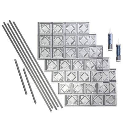 Traditional 4 18 in. x 24 in. Argent Silver Vinyl Decorative Wall Tile Backsplash 15 sq. ft. Kit