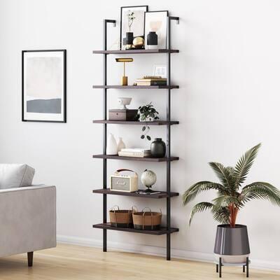 Theo Nutmeg Brown Wood 6-Shelf Tall Ladder Bookcase Wall Mount Bookshelf Matte Black Metal Frame