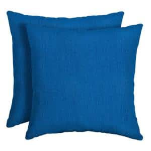 16 x 16 Lapis Canvas Texture Square Outdoor Throw Pillow (2-Pack)