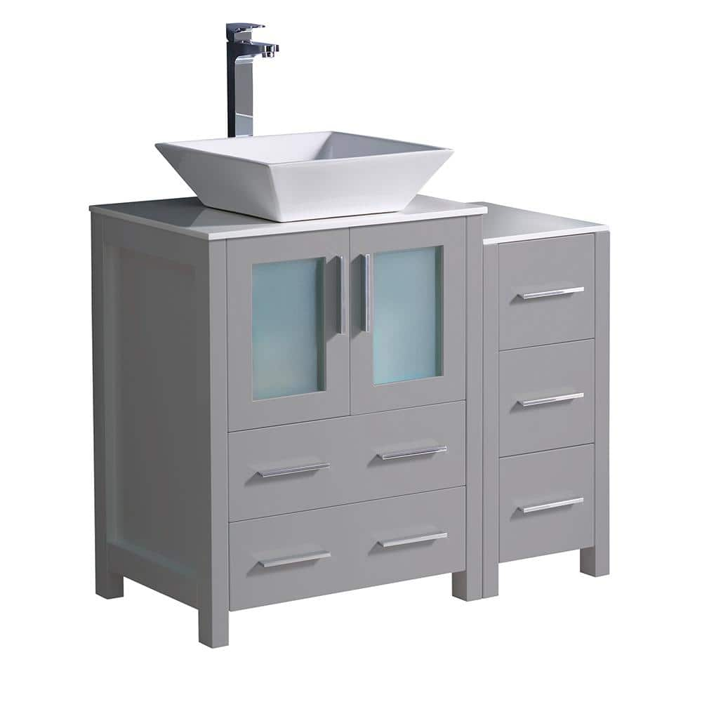 Fresca Torino 36 In Bath Vanity In Gray With Glass Stone Vanity Top In White With White Vessel Sink And Side Cabinet Fcb62 2412gr Cwh V The Home Depot