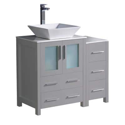 Torino 36 in. Bath Vanity in Gray with Glass Stone Vanity Top in White with White Vessel Sink and Side Cabinet