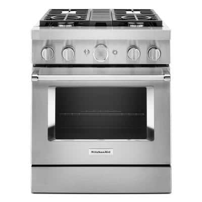 30 in. 4.1 cu. ft. Dual Fuel Freestanding Smart Range with 4-Burners in Stainless Steel