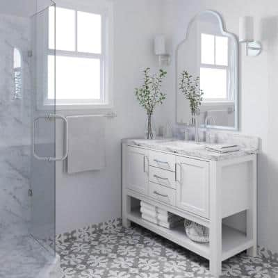 Bayhill 49 in. W x 22 in. D Bath Vanity in White with Marble Vanity Top in Carrara White with White Basin