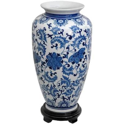 14 in. Porcelain Decorative Vase in Blue