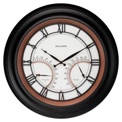 24 in. Illuminated Indoor/Outdoor Metal Clock with Thermometer and Hygrometer