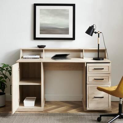 58 in. Rectangular Birch Wood 3-Drawer Pedestal Writing Desk Hutch with Cabinet