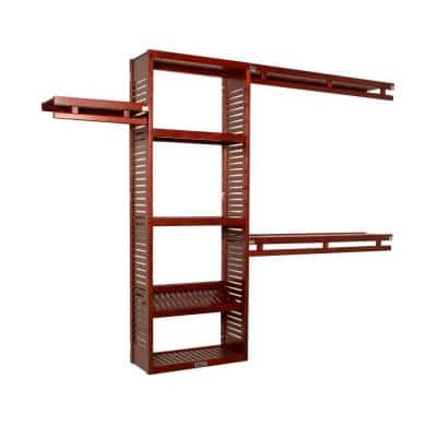 12 in. D x 96 in. W x 84 in. H Deep Simplicity Wood Closet System in Red Mahogany