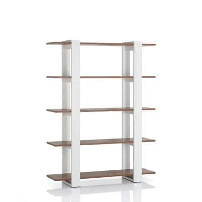 62.4 in. White/Walnut Wood 5-shelf Etagere Bookcase with Open Back