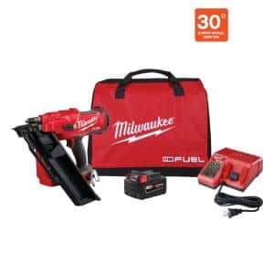 M18 FUEL 3-1/2 in. 18-Volt 30-Degree Lithium-Ion Brushless Cordless Framing Nailer Kit with 5.0 Ah Battery Charger, Bag