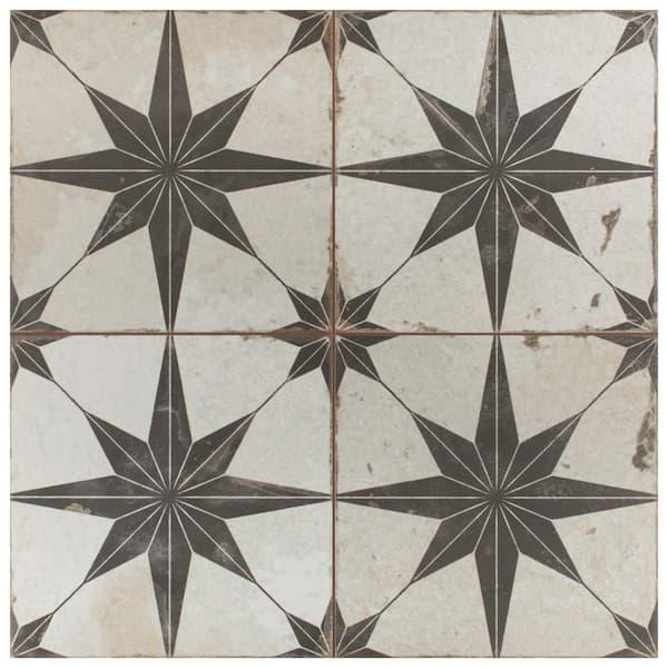 Merola Tile Take Home Sample Kings Star Nero 9 In X Ceramic S1fpestrn The Depot
