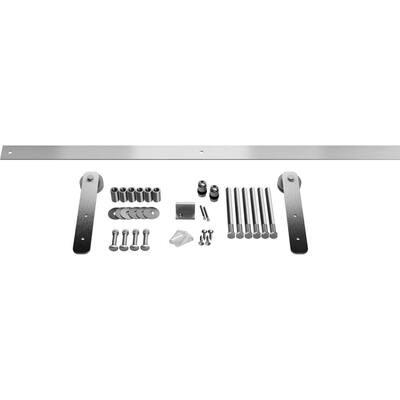1-3/8 in. x 60 in. x 10-1/4 in. Steel Straight Strap Barn Door Hardware Set Moulding Stainless Steel