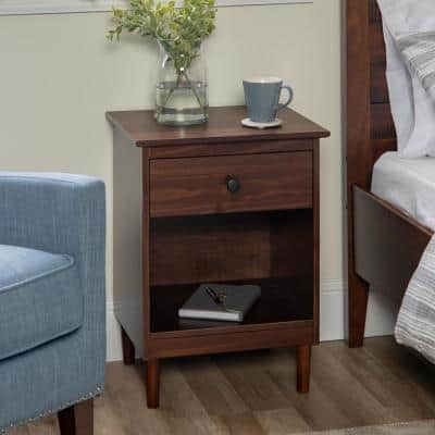 Classic Mid Century Modern 1-Drawer Walnut Solid Wood Nightstand Side Table