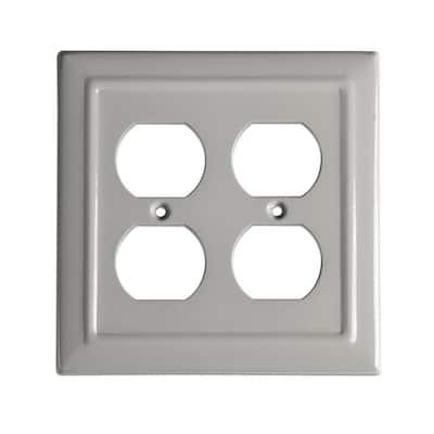 Gray 2-Gang 2 Duplex Wall Plate (1-Pack)