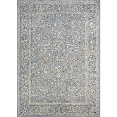 Sultan Treasures Floral Yazd Slate Blue 9 ft. x 12 ft. Area Rug