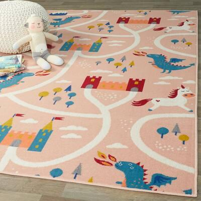 Fantasy Road Pink 4 ft. x 6 ft. Kids Area Rug
