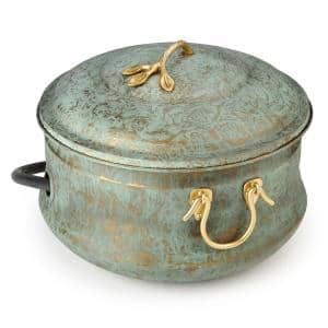 Sedona Hose Pot with Lid, Brass Accents, Holds Up to 150 ft. of Hose