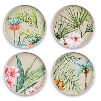 Palermo Tropical Bamboo Melamine 8.5 in. Salad Plate Assorted (Set of 4)