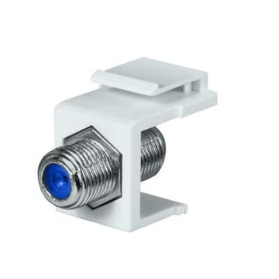 Female to Female F-Connector, White (10-Pack)