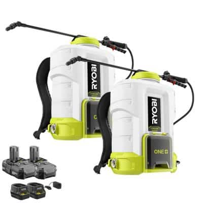 ONE+ 18-Volt Lithium-Ion Cordless Backpack Chemical Sprayer (2-Tool) - (2) 2.0Ah Batteries and (2) Chargers Included