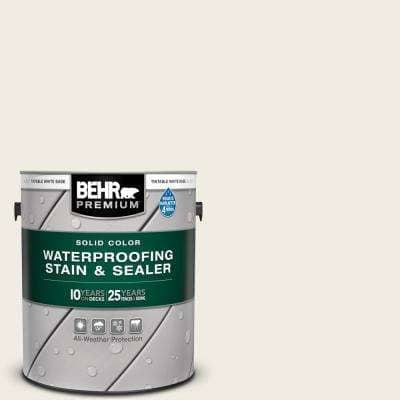 1 gal. #12 Swiss Coffee Solid Color Waterproofing Exterior Wood Stain and Sealer