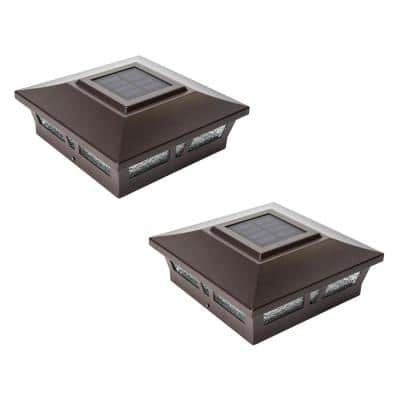 Oxford Brown Integrated LED 6 in. x 6 in. Aluminum Oxford Solar Post Cap ( 2-Pack)