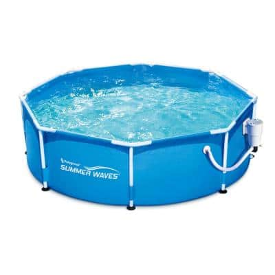 Summer Waves 8 ft. Round 30 in. D Metal Frame Above Ground Swimming Pool and Pump
