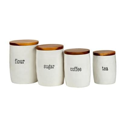 It's Just Words 4-Piece Traditional Multi-Colored Ceramic Canister Set