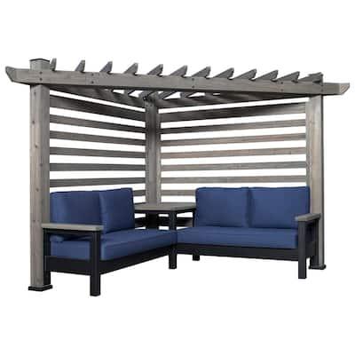 Laguna Cabana Barnwood Pergola with 3-Piece Cedar Patio Conversation Deep Seating Set with Sunbeam Indigo Cushions