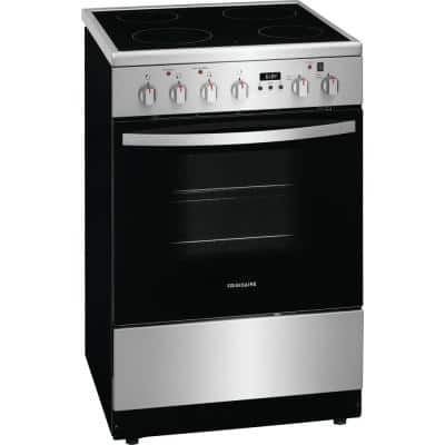 24 in. Freestanding Electric Range in Stainless Steel with 4 Smoothtop Elements