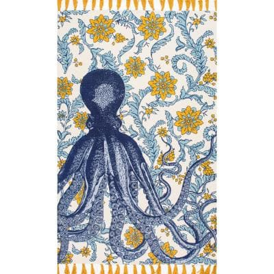 Thomas Paul Contemporary Floral Octopus Multi 9 ft. x 12 ft. Area Rug