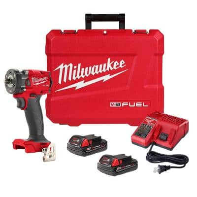 M18 FUEL GEN-3 18-Volt Lithium-Ion Brushless Cordless 3/8 in. Compact Impact Wrench with Friction Ring Kit