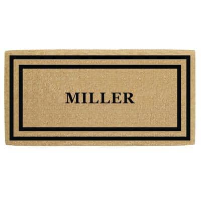 36 in. x 72 in. Heavy Duty Coco Black Thin Double Picture Frame, Personalized Door Mat
