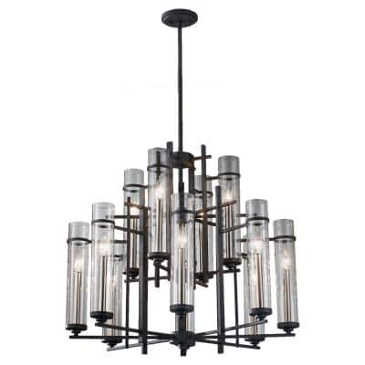 Ethan 12-Light Antique Forged Iron/Brushed Steel Contemporary Industrial Multi-Tier Hanging Candlestick Chandelier