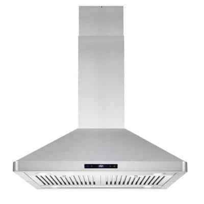 30 in. 380 CFM Ducted Island Range Hood with LED Lighting in Stainless Steel