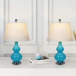 23 in. Blue Gray Metal Shelf Floor Lamp with White Fabric Lamp Shade (Set of 2)