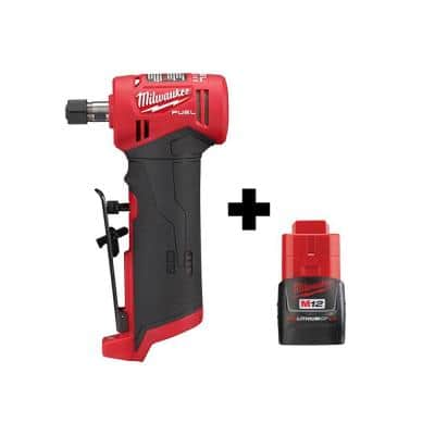M12 FUEL 12-Volt Lithium-Ion Brushless Cordless 1/4 in. Right Angle Die Grinder with Free M12 2.0 Ah Battery