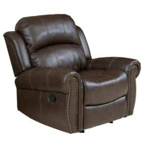 43 in. Width Big and Tall Brown Faux Leather Tufted Club Recliner