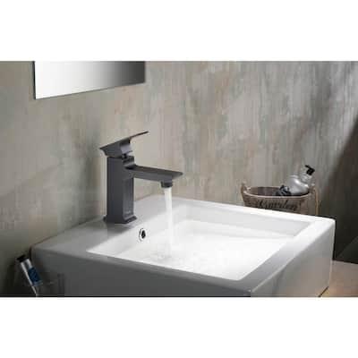 Adler Single Hole 1-Handle 1.2 GPM CALGreen Bathroom Faucet in Matte Black