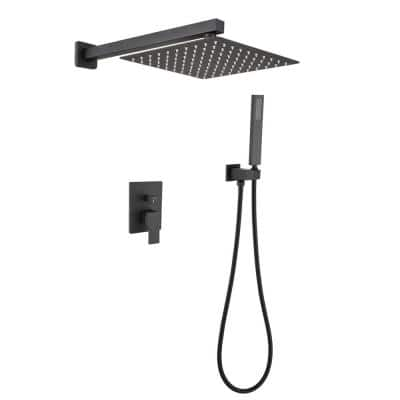 Single-Handle 1-Spray Wall Mount Rain Pressure Balanced Shower Faucet in Matte Black (Valve Included)