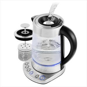 7.2-Cup Silver Variable Temperature Glass Electric Kettle with ProntoFill Technology - Fill Up with the Lid On