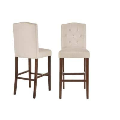 Beckridge Walnut Finish Upholstered Bar Stool with Back and Biscuit Beige Seat (Set of 2) (18.11 in. W x 46.06 in. H)
